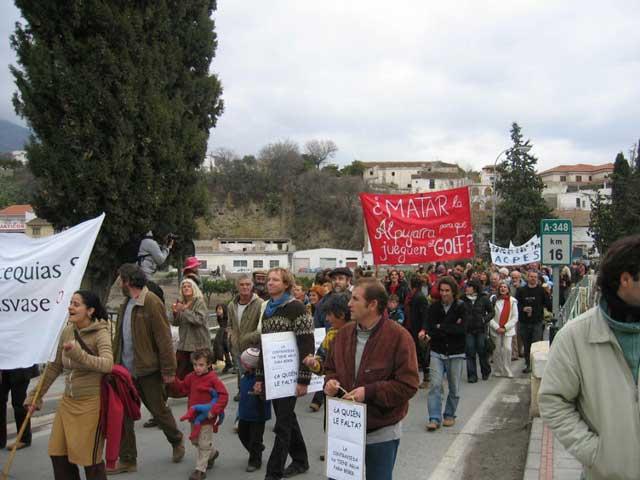 Manifestación en Trevelez, febrero de 2007